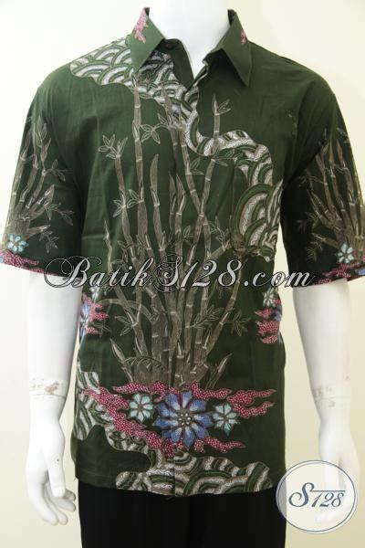 Kemeja Batik Pria Eksklusif Motif Unik S26 kemeja batik tulis pria warna hijau motif tunas bambu unik