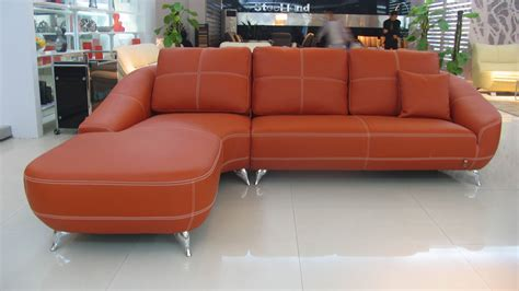 Orange Leather Sectional Sofa Orange Leather Sectional Sofa Zuri Furniture