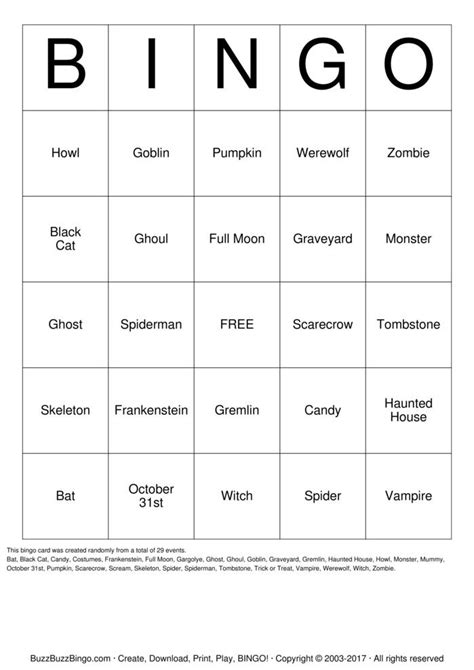 printable halloween bingo cards with pictures compound word bingo game