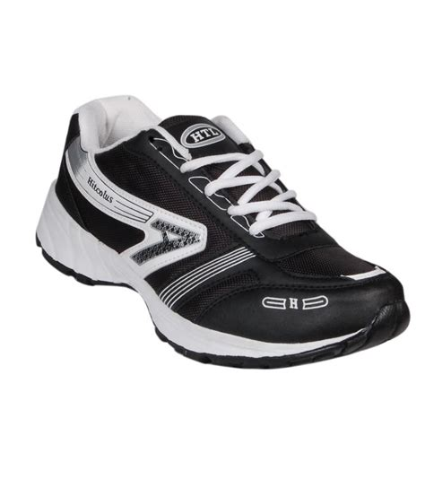 hitcolus synthetic leather sport shoes black price in