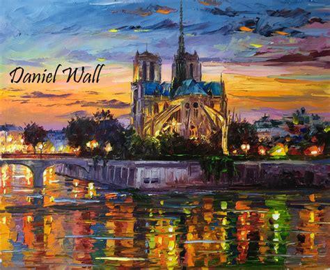 daniel wall artwork merry christmas notre dame original painting oil landscape art