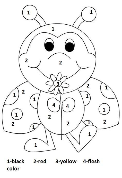color by number worksheets preschool kids coloring color by number ladbug worksheet matematika 1 tř 237 da