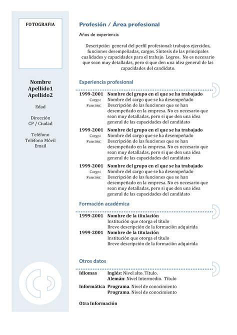 Plantilla Curriculum Vitae Listo Para Rellenar Plantillas De Cv Modelo 3 Modelo Curriculum