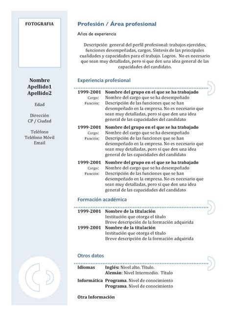 Modelo Curriculum Europeo Relleno Como Hacer Un Curr 237 Culum Vitae Taringa