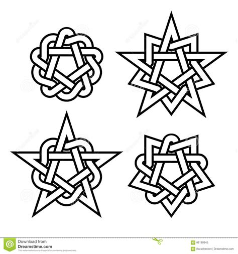 celtic star knots or abstract geometry design elements on