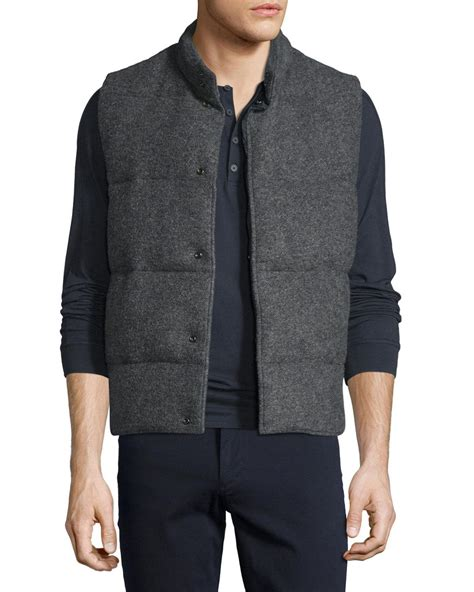 Quilted Wool Vest by Vince Quilted Wool Blend Vest In Gray For Lyst