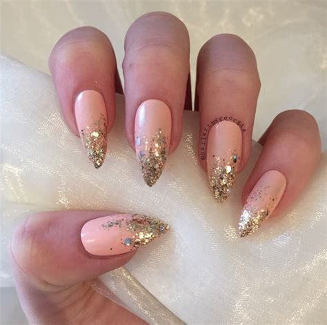 how to do ombre stiletto nail peach stiletto false nails with gold glitter ombre
