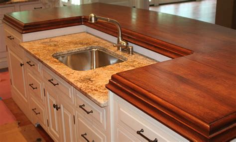 How To Stain Wood Countertops by Cherry Wood Stain Matched Kitchen Counter With Sink Jpg