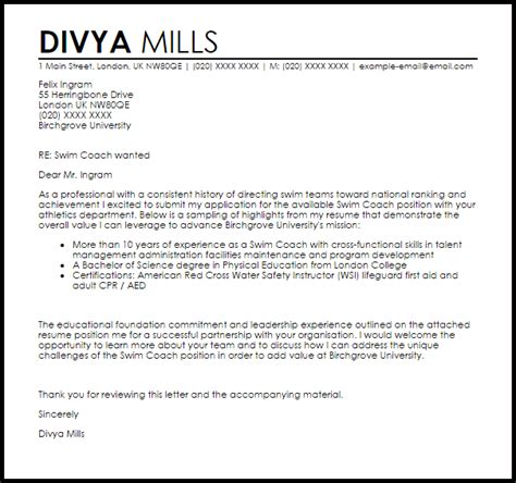Mills College Letter Of Recommendation Swim Coach Cover Letter Sle Livecareer