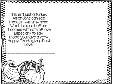 printable turkey handprint poem mrs parisi s kindergarten class