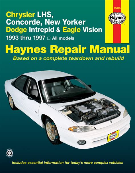 free car manuals to download 1997 eagle vision engine control chrysler lhs concorde new yorker dodge intrepid eagle vision 93 97 haynes repair manual