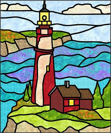 lighthouse 1 stained glass quilt pattern pes 103