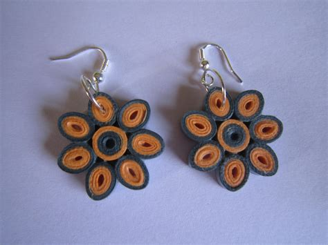 Paper Earrings - handmade jewelry paper quilling flower earrings orange