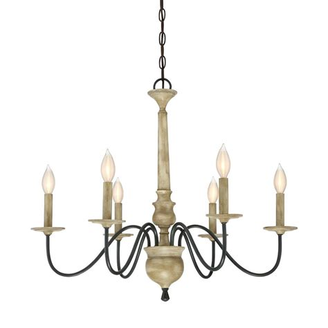 Distressed Chandelier Filament Design 6 Light Distressed Wood Chandelier Cli Sh473991 The Home Depot