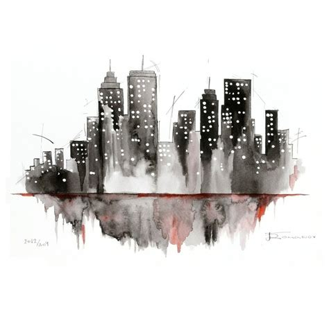 city painting skyline watercolor ink by aquatory