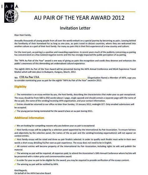 Reference Letter Au Pair au pair of the year nomination chi news