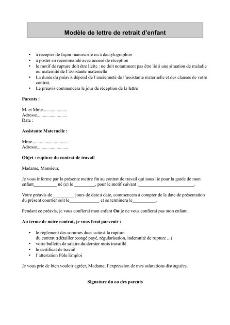 Exemple Lettre De Demission Nounou A Domicile documents 224 t 233 l 233 charger pour les mat et parents