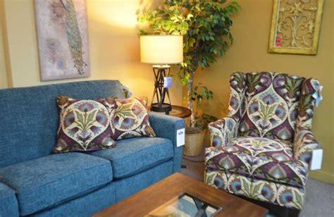flexsteel cahir  peacock pattern  matching blue sofa