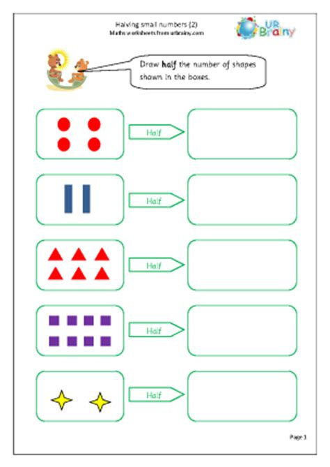 printable worksheets for halving numbers halving small numbers 2 fractions maths worksheets for
