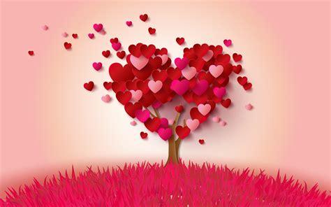 papeis de parede amor coracoes arvore rosa  vermelho