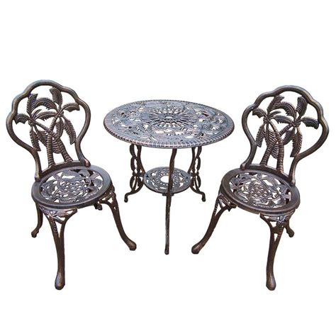 Oakland Living Palm 3 Piece Patio Bistro Set 3716 Ab The Patio Furniture Bistro Set