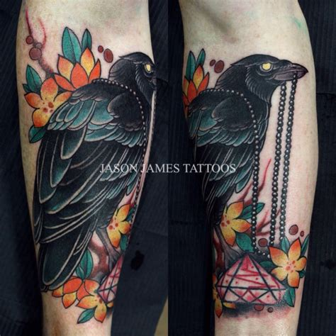 traditional crow tattoo and cherryblossoms by jason tattoos