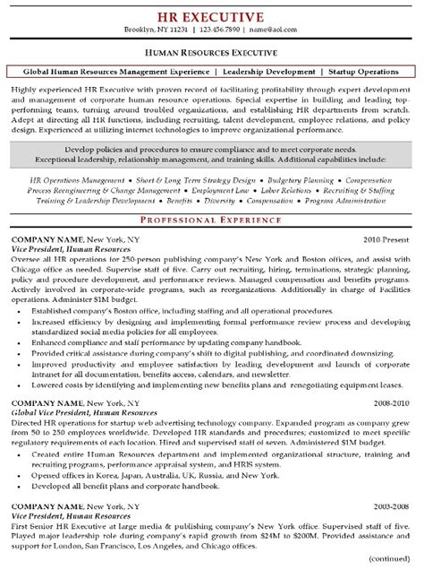 human resources resume template resume sle 20 human resources executive resume