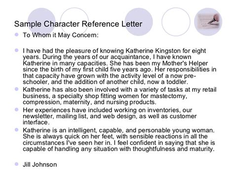 Character Reference Weaknesses Exles Writing A Reference Letter