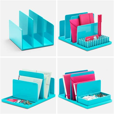 fun office supplies for desk poppin aqua fin file sorter desk accessories cool and