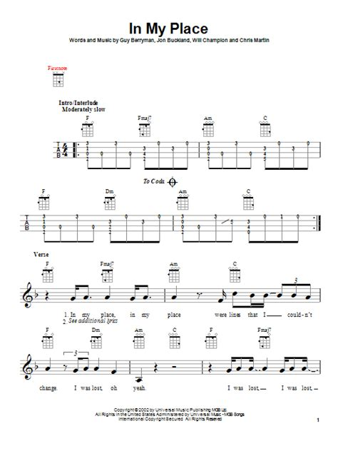 The Place Guitar Tab In My Place By Coldplay Ukulele Guitar Instructor