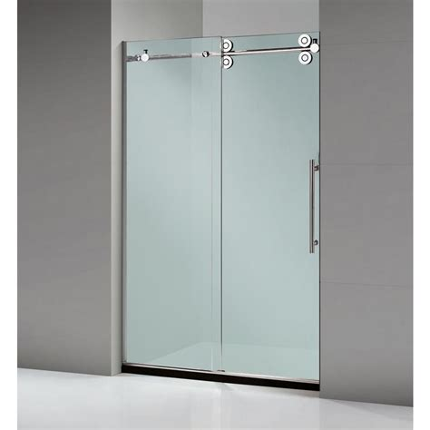 Home Depot Shower Doors Sliding Dreamwerks 60 In X 79 In Frameless Sliding Shower Door In Stainless Steel Sb228b The Home Depot
