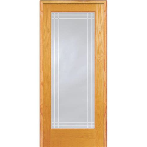 Prehung Interior Door With Glass Mmi Door 30 In X 80 In Left Unfinished Pine Clear Glass Lite Perimeter V Groove
