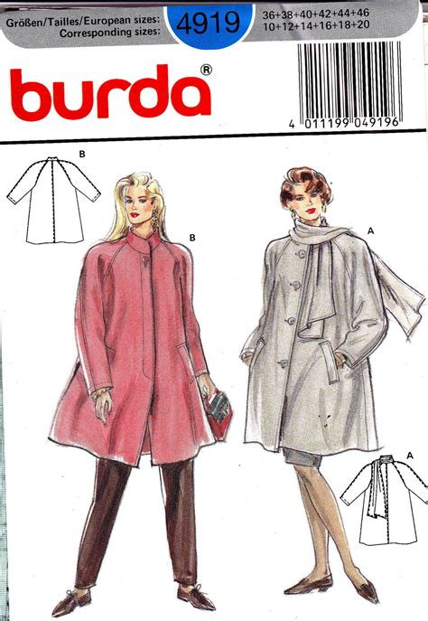 Swing Coat Pattern 80s vintage sewing pattern burda 4919 plus sized swing jacket