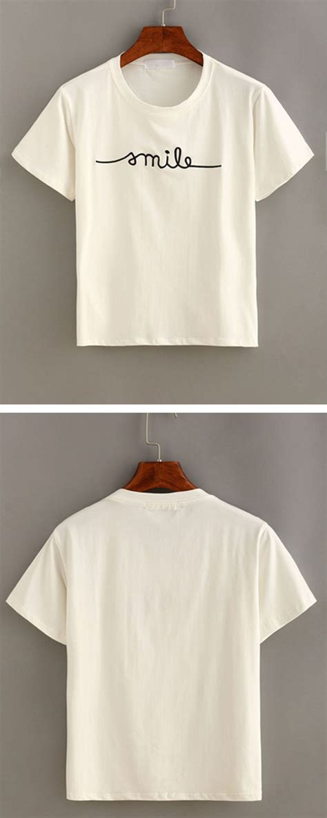 Letter Sleeve T Shirt letter embroidered sleeve t shirt embroidered