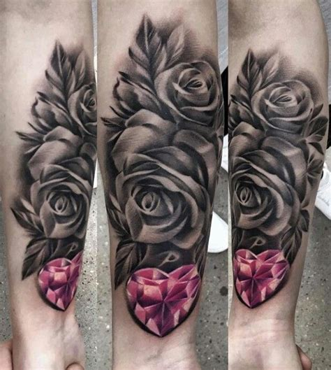 roses and heart tattoos pink black and white tattoos
