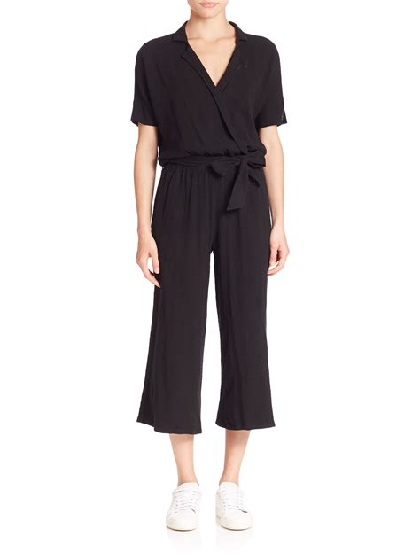 Cropped Jumpsuit lyst stateside cotton cropped jumpsuit in black
