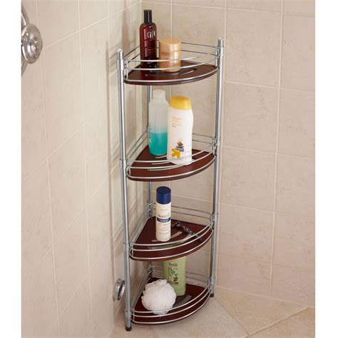 Bathroom Shower Storage The Teak And Stainless Steel Shower Organizer Hammacher Schlemmer