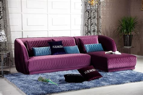 purple sectional k8434 transitional purple floss fabric sectional sofa set