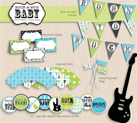 free printable rock star baby shower invitations rock a bye baby shower printable package in turquoise blue and