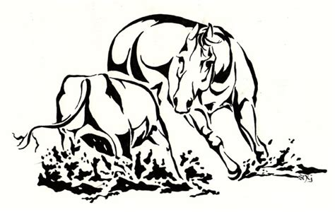 cutting horse coloring page cutting horse by lunatteo on deviantart