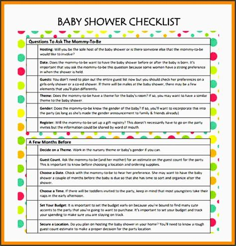 Baby Shower Checklist Excel by 11 Baby Shower Planner Sle Sletemplatess