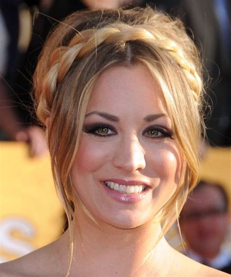 kaley cuoco updo haircut kaley cuoco braided updo formal fall winter