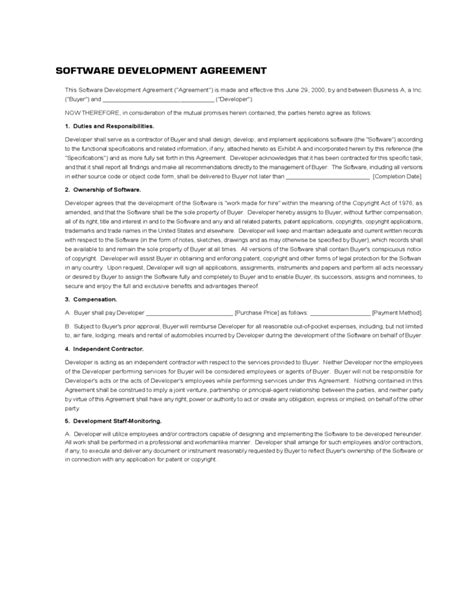 developer agreement template software development agreement template free