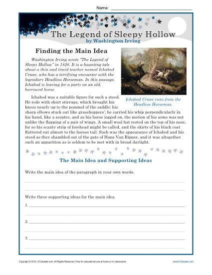 middle main idea worksheet about the legend of