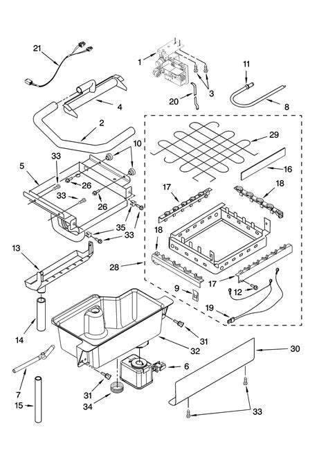 whirlpool maker parts diagram evaporator cutter grid and water parts diagram