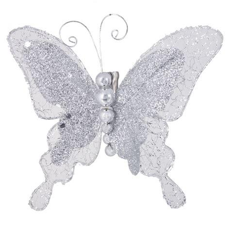 Silver Butterflies Decoration by Box Of 2 Silver Butterflies On 10cm X 7cm