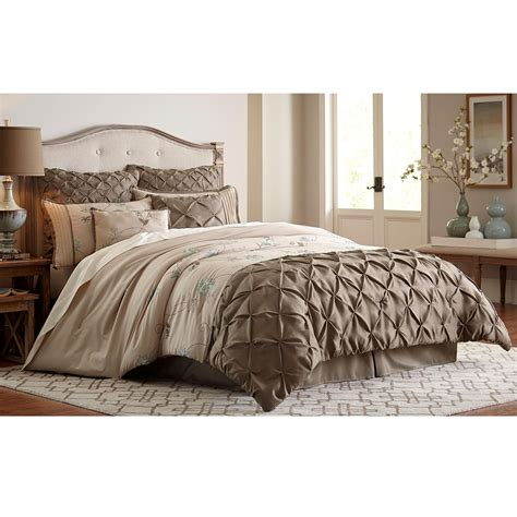 essential home jacobean 8 piece comforter set taupe
