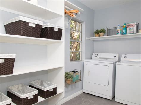 Diy Laundry Room Storage Ideas Custom Diy Wood Wall Mounted Shelving Units Washer Dryer Beside Window For Saving Small