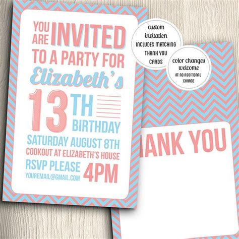 birthday party invitation for teenage girl with thank you