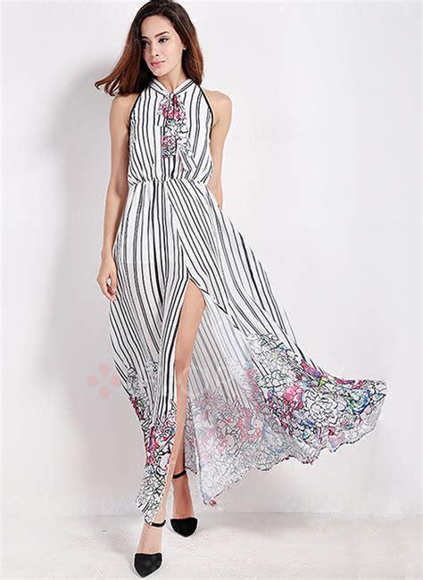 Stripe Casual Maxi 8435 74 stripe sleeveless maxi a line dress floryday